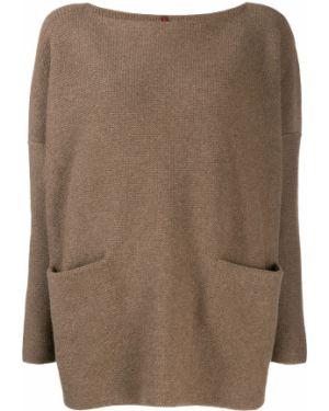 Шерстяной коричневый свитер с карманами с вырезом Daniela Gregis