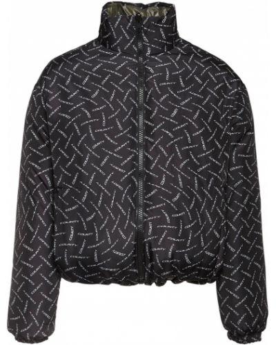 Czarna kurtka z nylonu z printem Marcelo Burlon County Of Milan