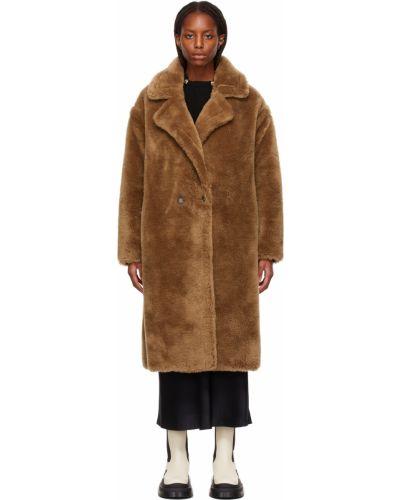 Коричневое пальто длинное Yves Salomon Meteo