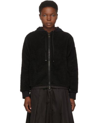 Черный длинный свитер с капюшоном с заплатками Moncler