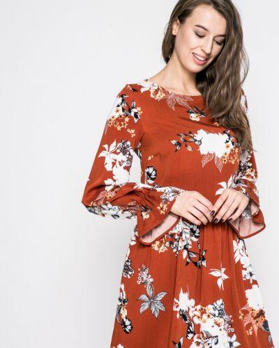 Платье миди с длинными рукавами с поясом Vila