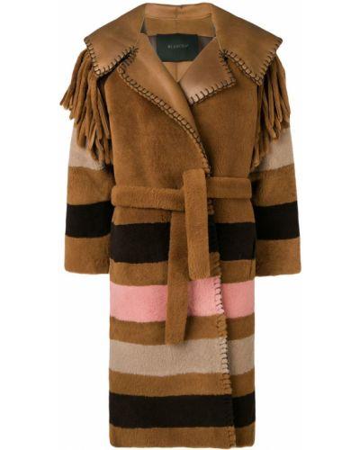 Коралловое длинное пальто с капюшоном с бахромой Blancha