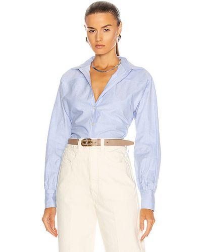 Хлопковая синяя оксфордская рубашка с манжетами Marissa Webb