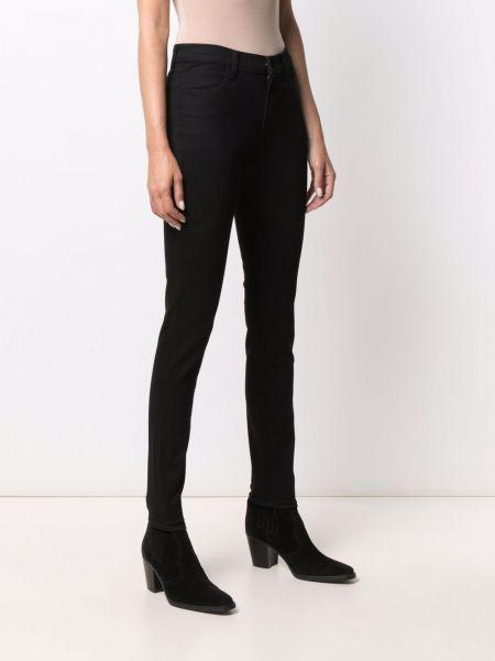 Хлопковые черные зауженные джинсы с завышенной талией J Brand