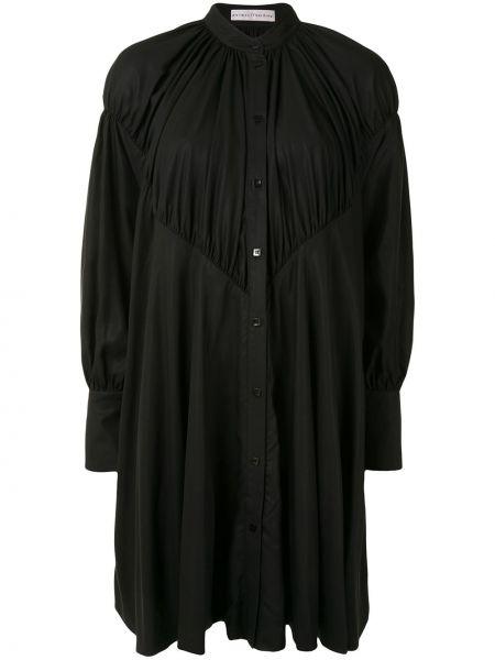 Черное расклешенное платье с рукавами на пуговицах с воротником Palmer / Harding