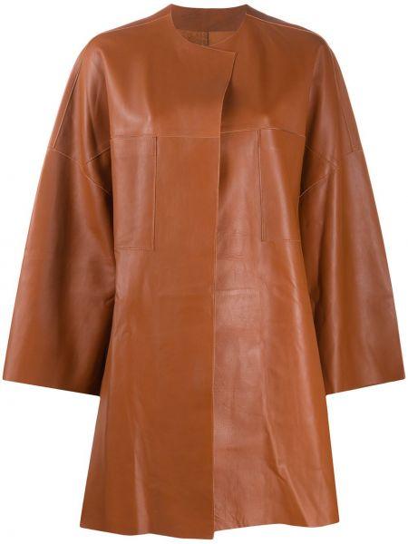 Коричневая свободная кожаная куртка свободного кроя круглая S.w.o.r.d 6.6.44