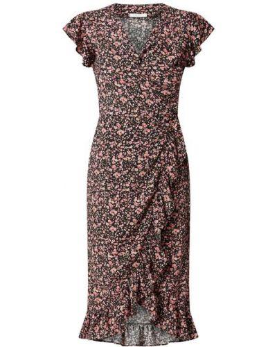 Czarna sukienka rozkloszowana w kwiaty z falbanami Freebird