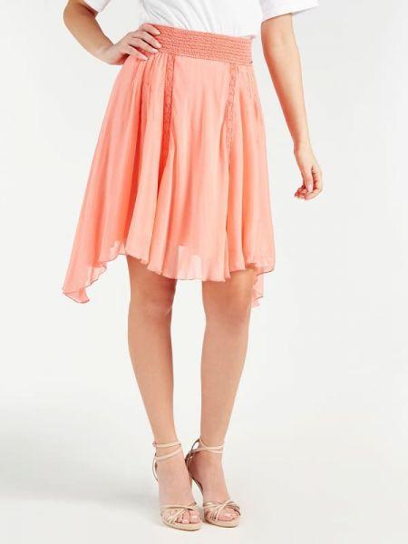 Różowa spódnica koronkowa z wiskozy Guess