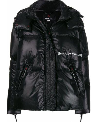 Длинная куртка черная леопардовая Peuterey