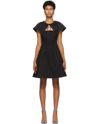 Bawełna czarny sukienka mini z kołnierzem z kieszeniami Edit