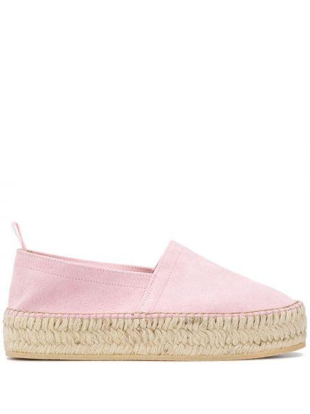 Плетеные кожаные розовые эспадрильи без застежки Scarosso
