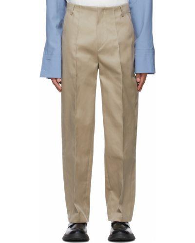 Beżowe spodnie z paskiem bawełniane Ader Error