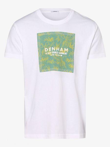 Biały t-shirt na co dzień z printem Denham