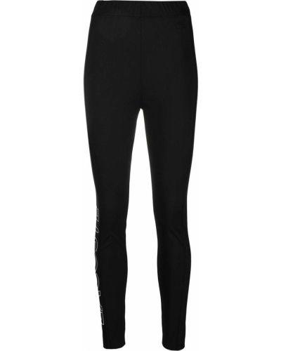 Czarne legginsy z wysokim stanem z printem Lacoste Live