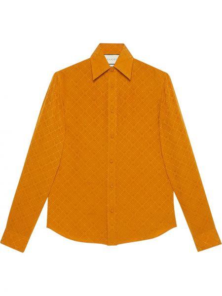 Koszula z jedwabiu - pomarańczowa Gucci