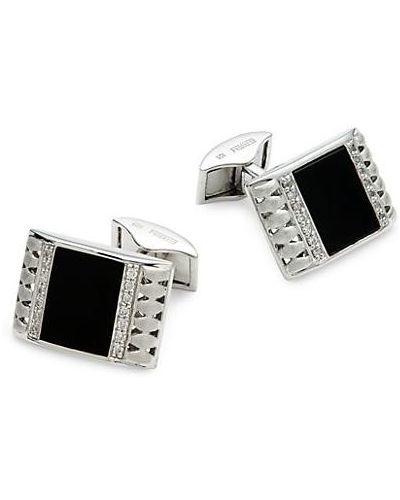 С ониксом серебряные запонки с бриллиантом Effy