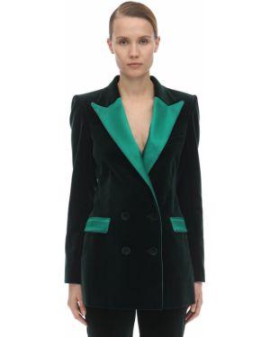 Бархатный пиджак двубортный с карманами Hebe Studio