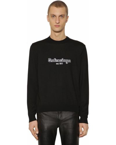 Czarny sweter wełniany z haftem Balenciaga
