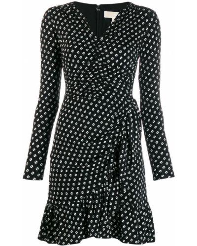 Платье макси в горошек с V-образным вырезом Michael Kors Collection
