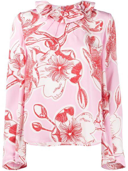 Розовая прямая блузка с длинным рукавом с оборками с вырезом Stine Goya