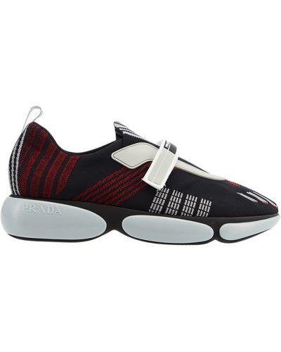 Кроссовки в полоску с логотипом Prada