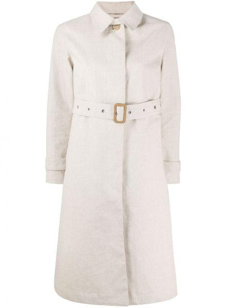 Однобортное бежевое длинное пальто с воротником Mackintosh