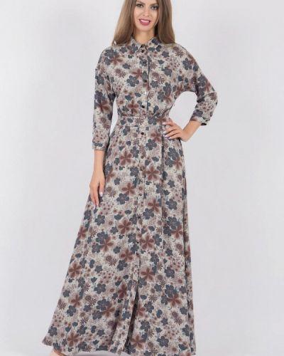 Платье макси бежевое оливковый Olivegrey