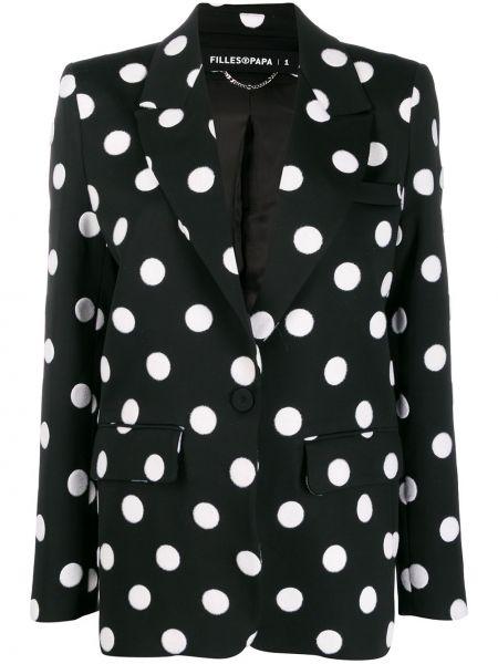 Черный удлиненный пиджак с карманами Filles A Papa