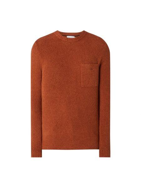 Prążkowany pomarańczowy sweter wełniany Ck Calvin Klein