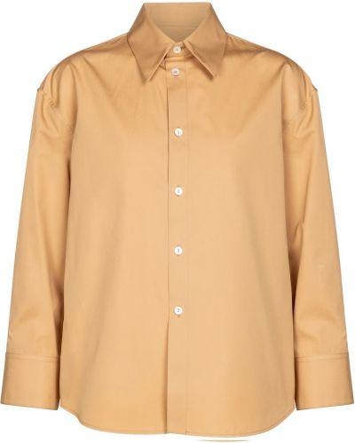 Ciepła brązowa koszula bawełniana Jil Sander