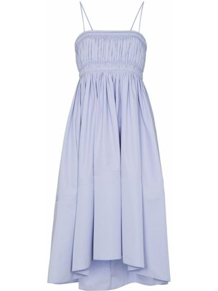 Синее тонкое платье миди на бретелях с оборками Chloé