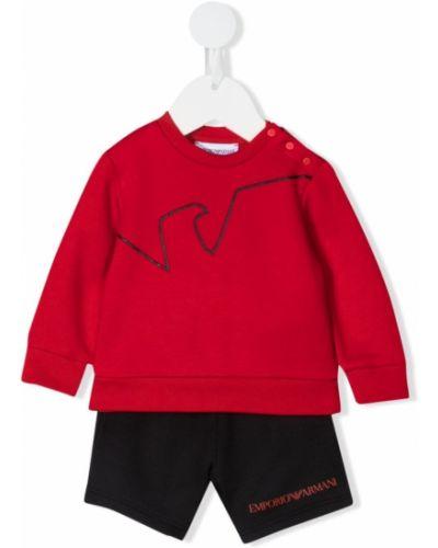 Czarny dres bawełniany z printem Emporio Armani Kids