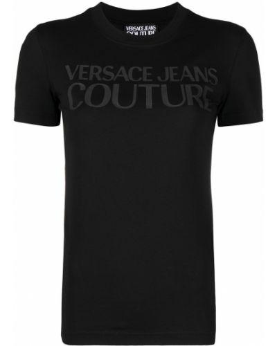 Хлопковая прямая черная джинсовая рубашка Versace Jeans Couture