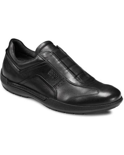 Слипоны черные на каблуке Ecco