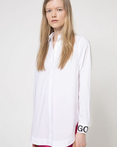 Biała bluzka z długimi rękawami bawełniana Hugo