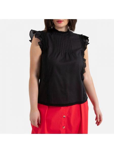 Прямая кружевная блузка с воротником на пуговицах La Redoute