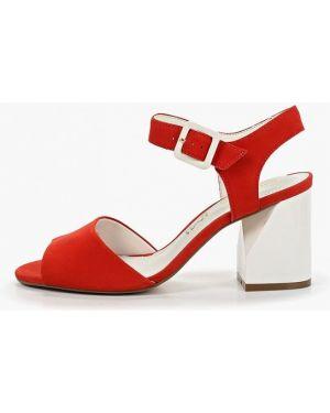 Босоножки на каблуке красный Indiana