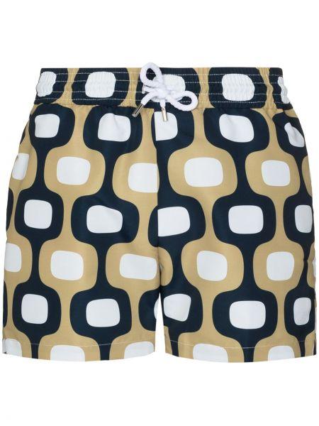 Żółte spodenki do pływania bawełniane z printem Frescobol Carioca