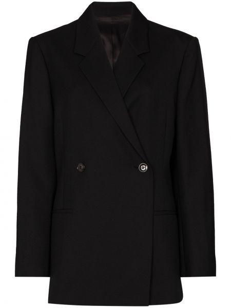 Черный пиджак двубортный для полных Toteme