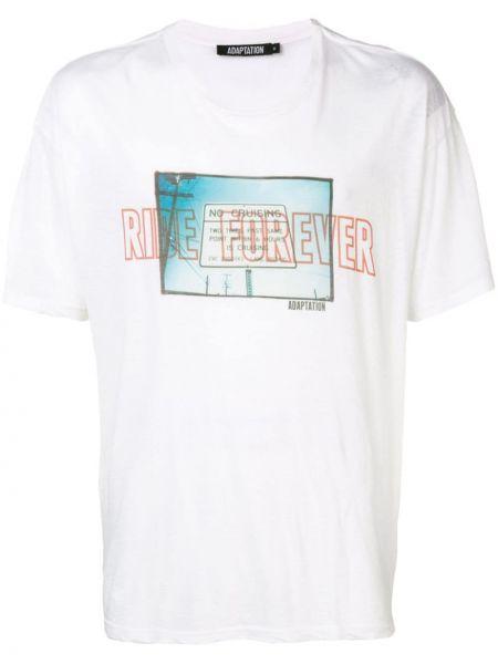 Biały t-shirt bawełniany z printem Adaptation