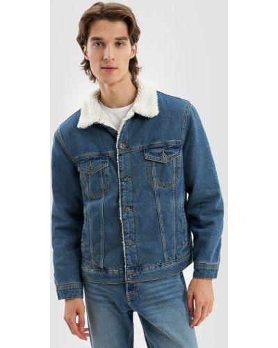 Джинсовая куртка с мехом - синяя O'stin