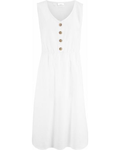 Белое платье миди на пуговицах Bonprix