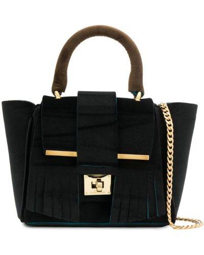 Черная сумка на цепочке с бахромой Alila