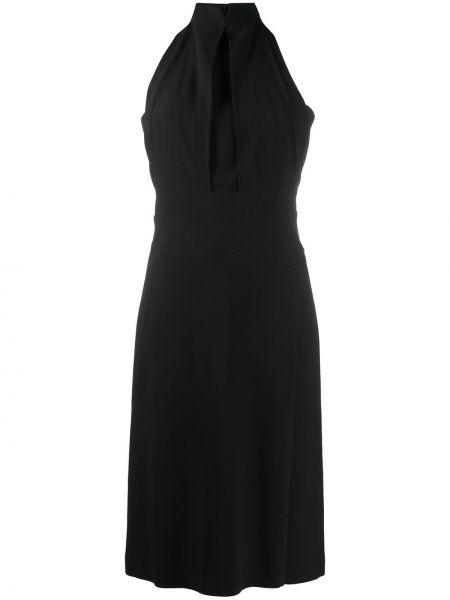 Приталенное черное платье макси без рукавов Alberta Ferretti