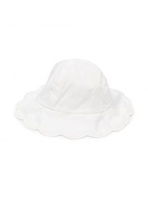 Biały kapelusz bawełniany z haftem Chloé Kids