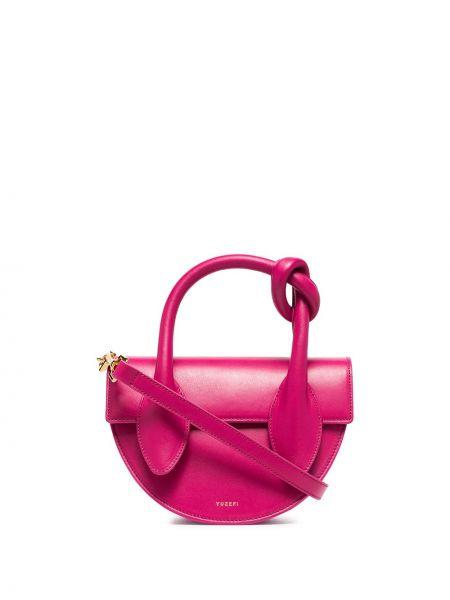 Кожаная розовая сумка-тоут круглая Yuzefi