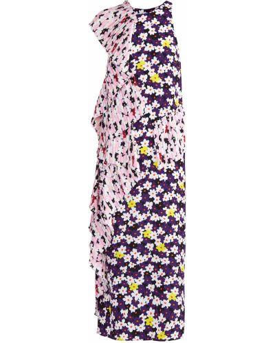 Платье миди с цветочным принтом плиссированное Kenzo