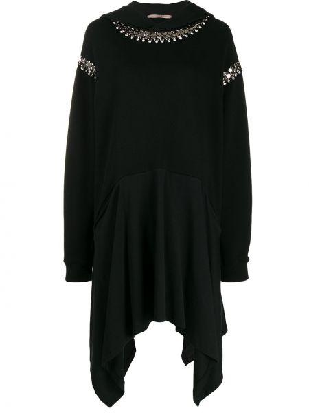Платье миди с капюшоном черное Christopher Kane