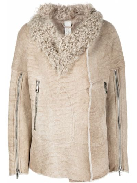 Коричневое кожаное длинное пальто оверсайз Giorgio Brato