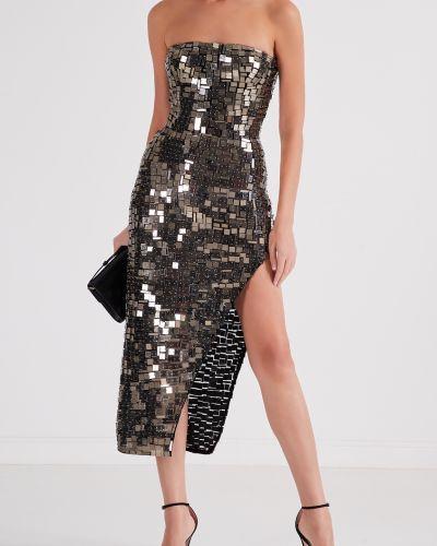 Облегающее открытое платье золотое Izeta